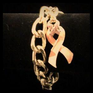 Gold breast cancer awareness bracelet